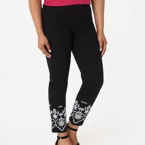 Isaac Mizrahi Stretch Embroidered Ankle Pants